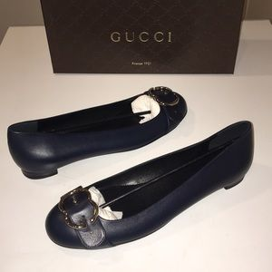 🛍New Gucci Blue GG Buckle leather Pumps size 10